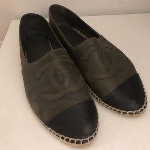Chanel single sole leather espadrilles